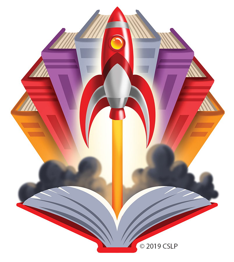 Rocket ship with book