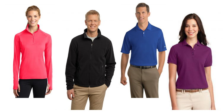 Four individuals modeling apparel