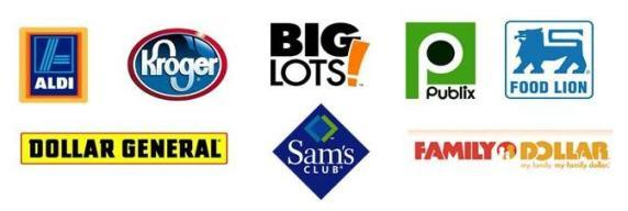 retailer logos Aldi, Kroger, Big Lots, Publix, Food Lion, Dollar General, Sam's Club, Family Dollar