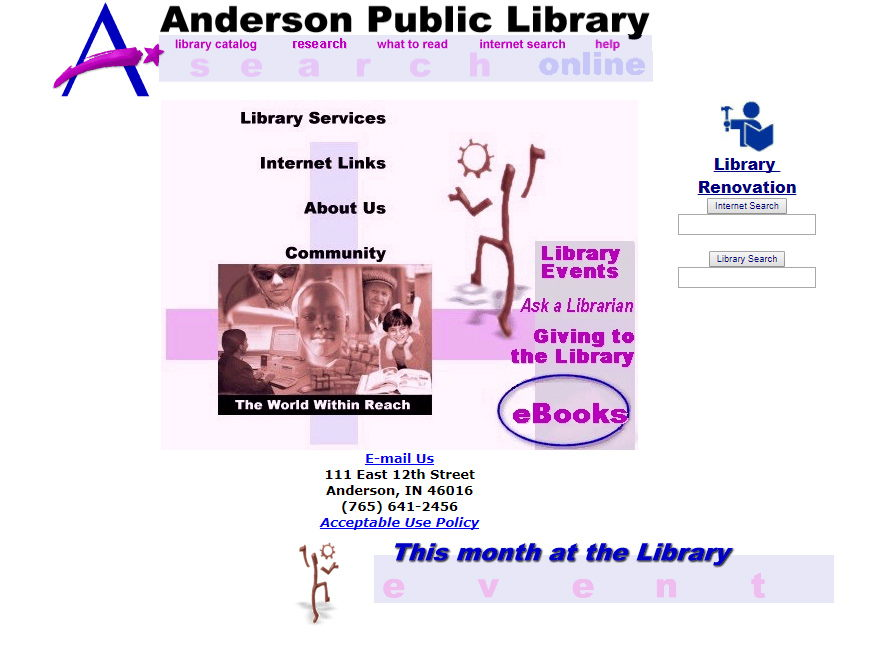 Screenshot of APL website in 2000