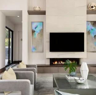 modern livingroom and fireplace