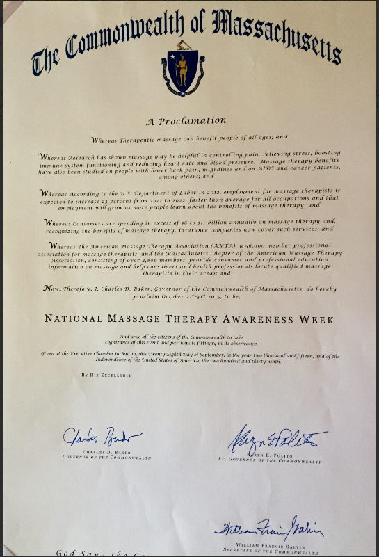 Governor Issues 2015 Massage Therapy Awareness Week Proclamation