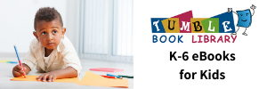 Tumbleook Library. K-6 eBooks for Kids. Young child draws on paper.