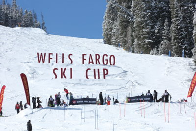 Wells Fargo Ski Cup Flags and Slope Sign