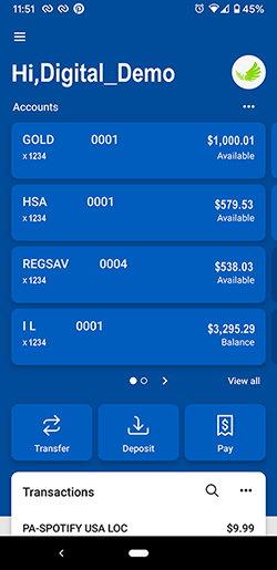 Digital Banking - Personalized Mobile Banking App Dashboard