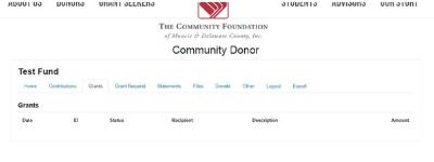 Fund Portal Grants Tab