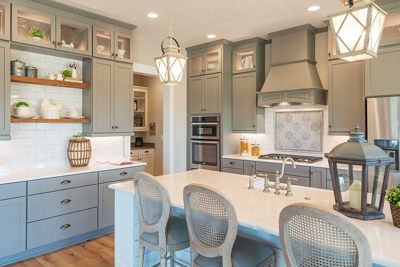 kitchen with tan gray cabinets
