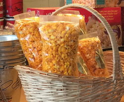 bags of popcorn in a basket