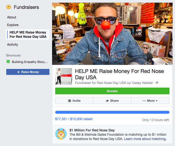 facebook fundraiser red nose day