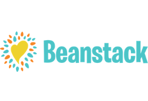 The word Beanstack in teal next to a yellow heart surrounded by orange and teal comnfetti