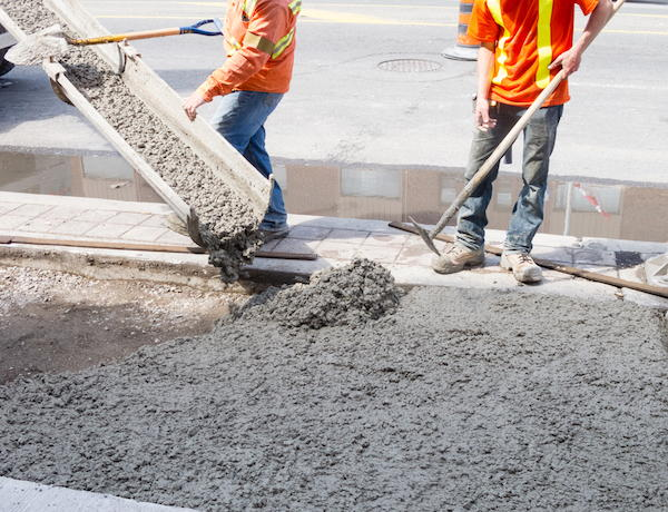 Pouring ready-mixed concrete
