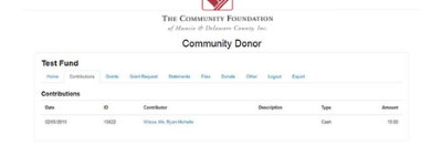Fund Portal Contributions Tab