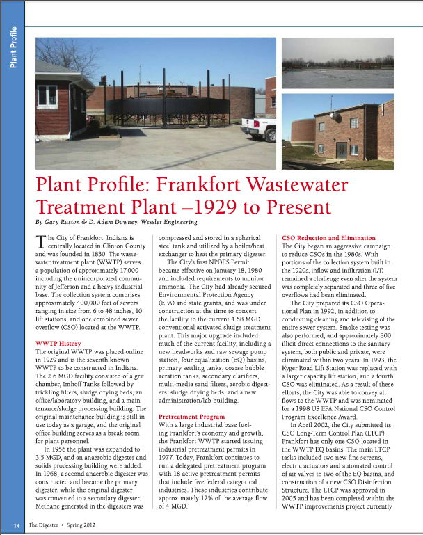 Plant Profile: Frankfort Wastewater Treatment Plant- 1929 to Present