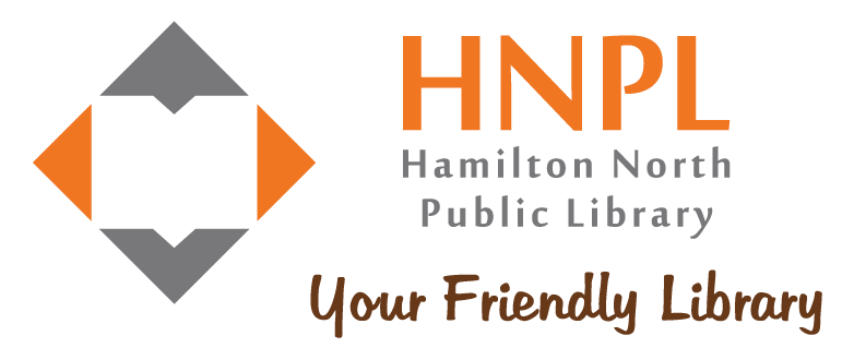 Diamond shape with book cut out in the middle and the words HNPL Hamilton North Public Library Your Friendly Library