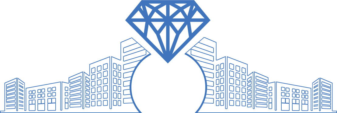 Image of buildings with a diamond at the top and the number 10
