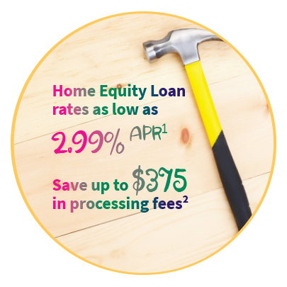 Image of hammer and text Home Equity Loan rates as low as 2.99% APR. Save up to $375 in processing fees. Restrictions apply. Call us for details.