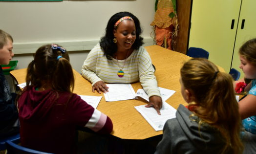 Aiesha Allen, Interventionist at West View Elementary, uses the Orton-Gillingham approach to work with students on reading skills.