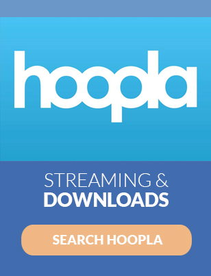 white hoopla text on bright blue background with words streaming and downloads search hoopla underneath