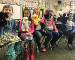 Mrs. Cantwell's class plays with puppets