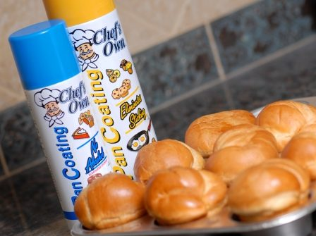 cooking spray can and baked goods