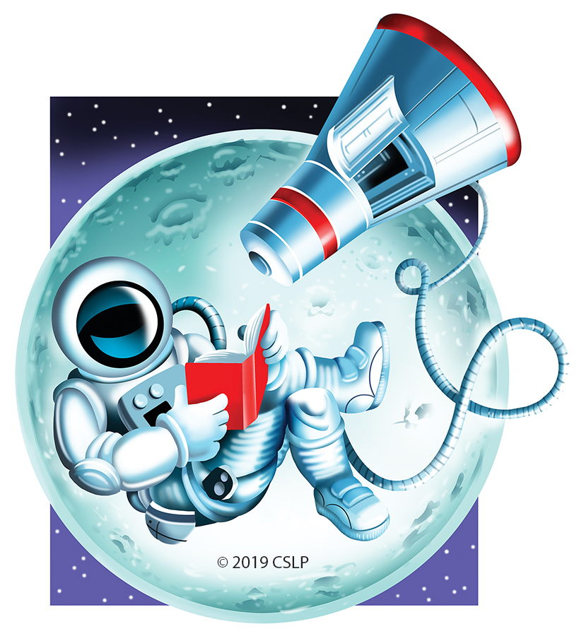 Astronaut space walk with book