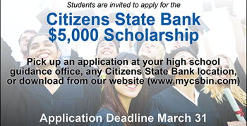 Image for Citizens State Bank $5,000 Scholarship