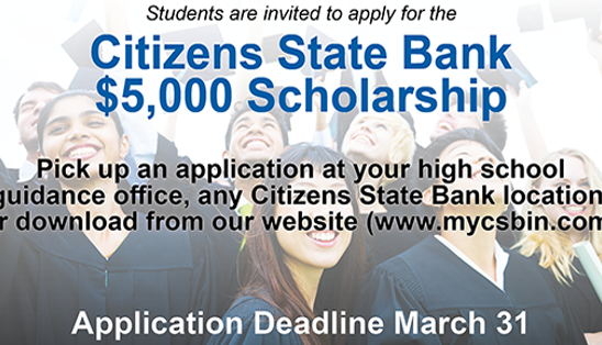 Image for Citizens State Bank Announces $5,000 Scholarship for 2020