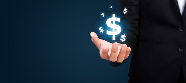 concept of money sign hovering over business mans hand
