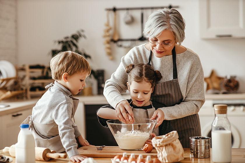 Grandma and kids baking
