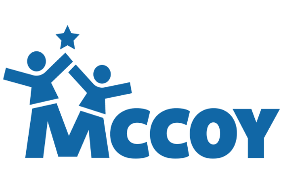 MCCOY logo featuring MCCOY in blue type with two childlike figures attached to the M