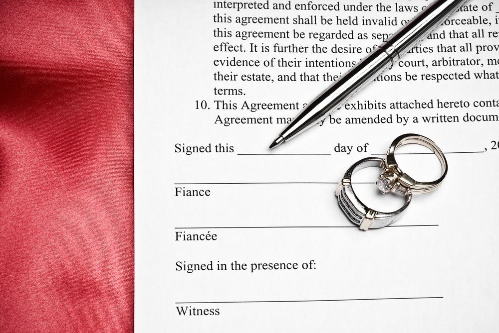 rings on prenup document