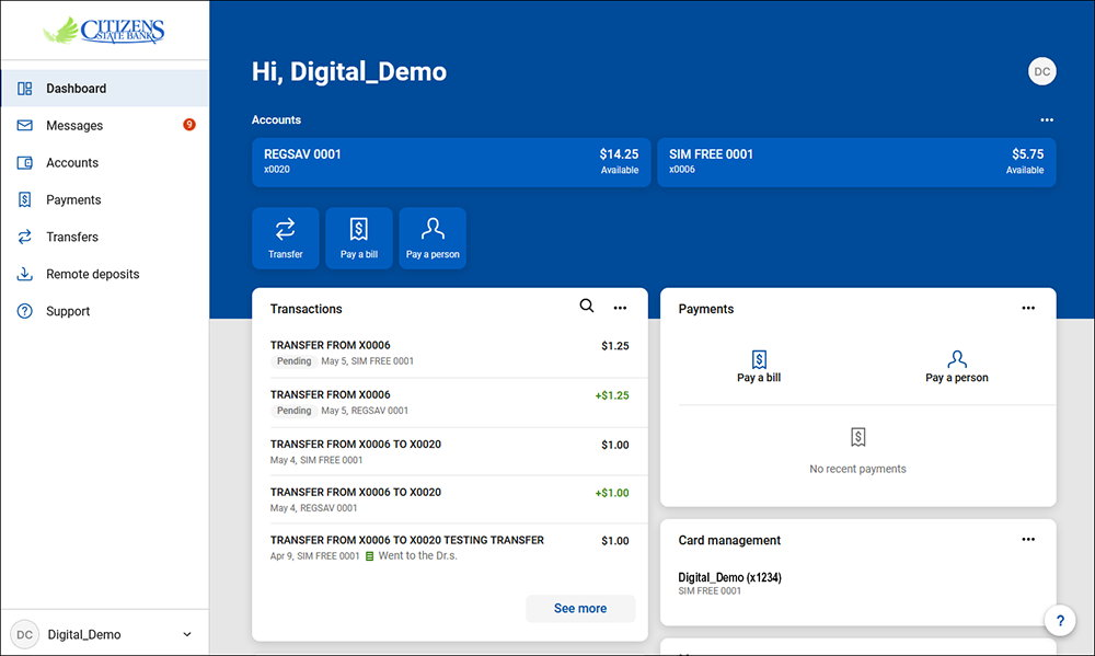 Online Banking Personalized Dashboard