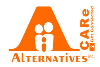 CARe 2 Get Connected up the side of Alternatives' logo (A large A with Alternatives Inc. underneath)