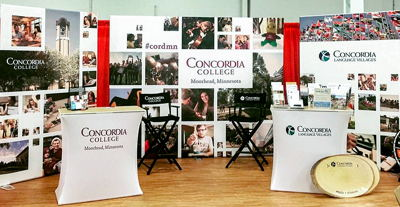Concordia College Tradeshow Booth with Backdrops and Podiums