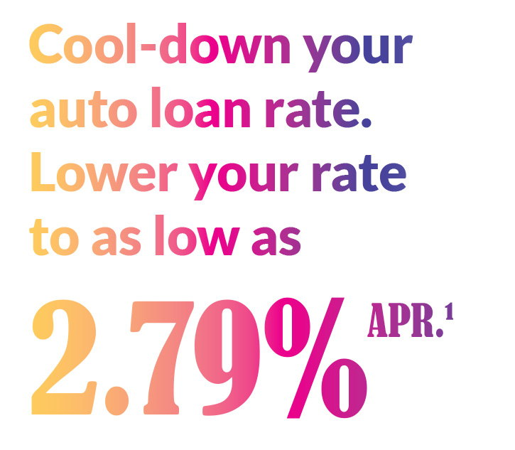 Cool down your auto loan rates to as low as 2.79% APR¹