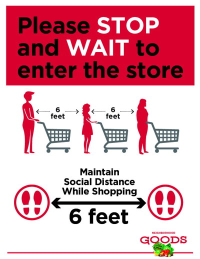 Safety Entrance Signage for Social Distancing