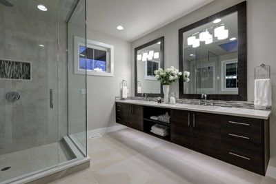 double vanity bathroom with huge shower and square mirrors