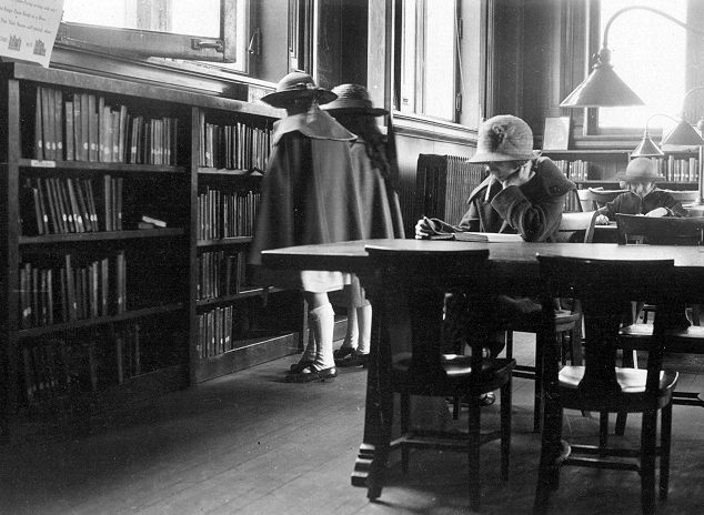 Girls dressed up for a trip to the library (1920)