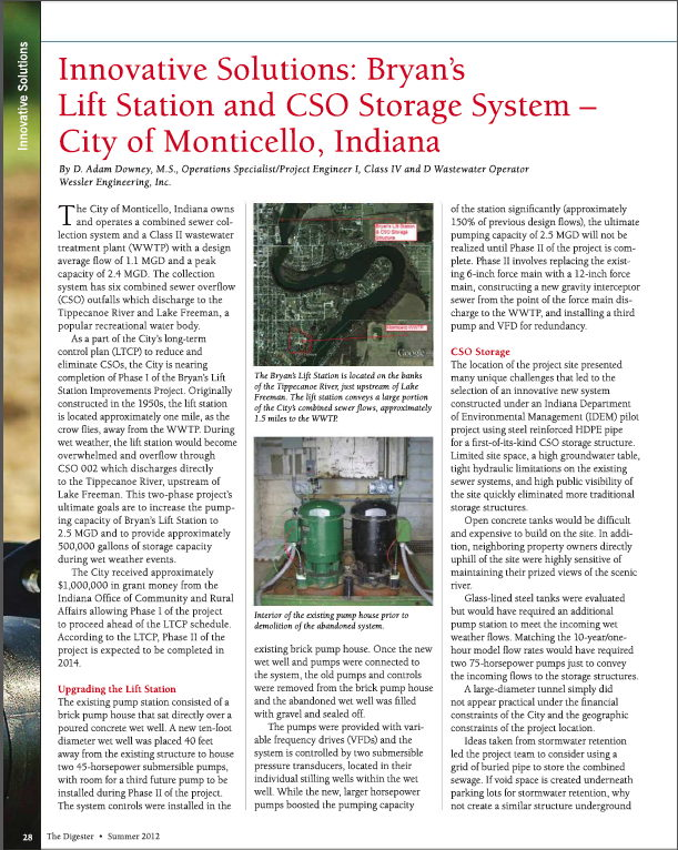 Innovative Solutions: Bryan's Lift Station and CSO Storage System - City of Monticello, Indiana