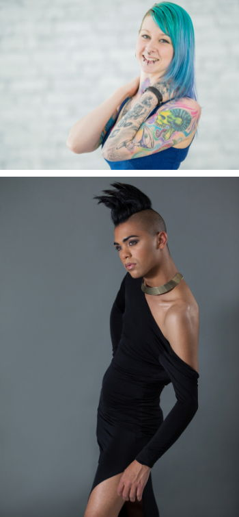 White woman with blue hair and tattoos on her left arm looking at the camera and a second image of a Black transgender woman with a black one-shoulder evening dress