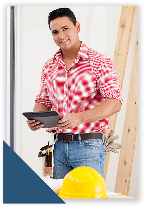 Hispanic man contractor with tablet smiling