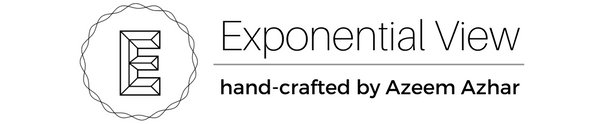 Exponential View company logo with 3d capital letter E that says  Exponential View  with horizontal line with hand crafted by Azeem Azhar under it