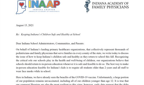 Image for Indiana's Primary Care Physicians Urge Masks in Schools and Fight Against Disinformation
