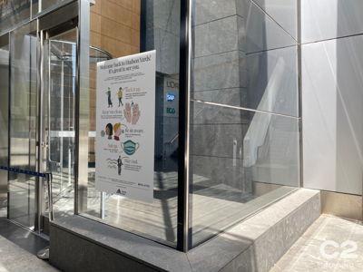 Lobby Window COVID Sign