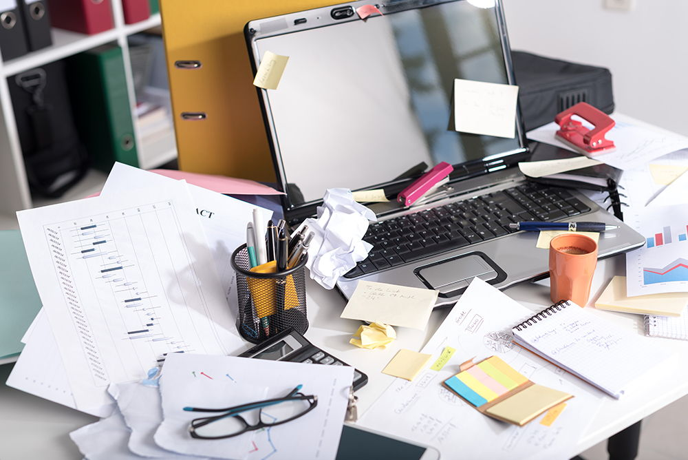 Messy Desk that Needs to be Organized