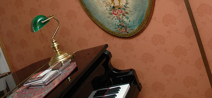 Historical house foyer with piano