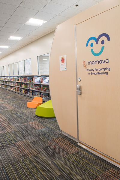 Children's books next to Mamava nursing station