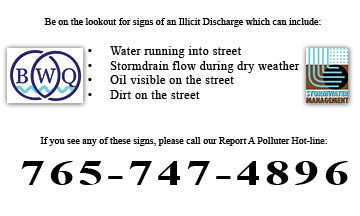 Illicit Discharge signs and Report a Polluter Hotline