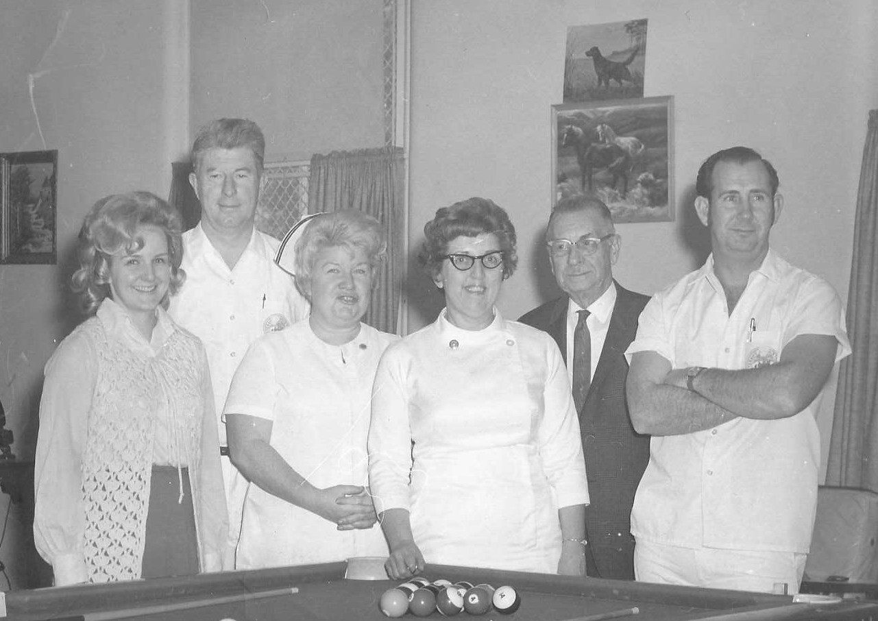 Betty (middle) stands with friends and coworkers at the VA Hospital in Marion where she spent her career as a nurse.