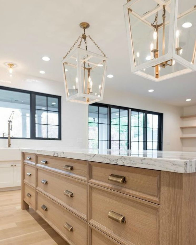 kitchen island with light brown drawers
